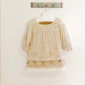 Sundance XL Beige Boho Blouse Embroidered Lace